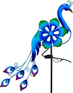 SUBOLO Solar Wind Spinner with Metal Sculpture Garden Stake Peacock Decor Multi-Color LED Lights for Outdoor Yard Lawn & Garden Decoration