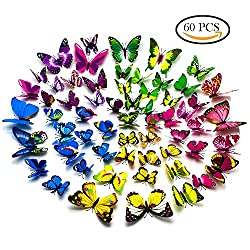 60 PCS 3D Butterfly Stickers Art Design Decal Wall Home Decor Room Decorations