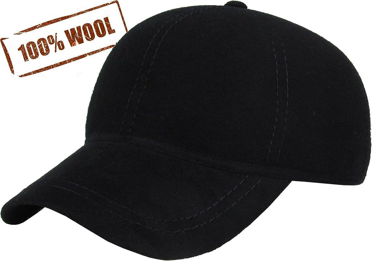 d63880df Amazon.com: KBW-09 BLK Wool Felt Solid Baseball Hat Cap: Sports & Outdoors