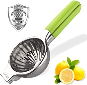 XBUTY Jumbo Lemon Squeezer 304 Stainless Steel Maunal Juicer Citrus Press with 3.54 Inch Super Large Bowl, with Green Silicone Handles Manual Juicer,Perfect for Juicing Oranges, Big Lemons & Limes