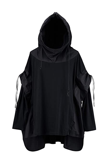 By The R Men's Batwing Sleeve Techwear Chic Black Cotton Layered Poncho Hoodie by By The R
