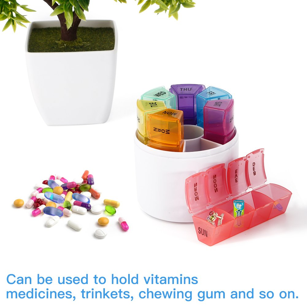 7 Days Pill Organizer Box, GSLL Medicine Remainder Round Small Pill Case 28 Compartments Rainbow Color by GSLL (Image #4)
