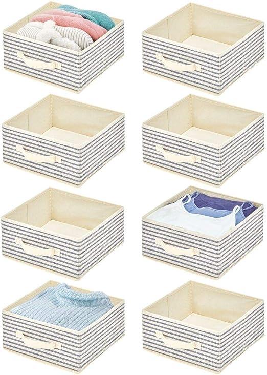 mDesign Juego de 8 Cajas organizadoras de Tela – Compacto ...