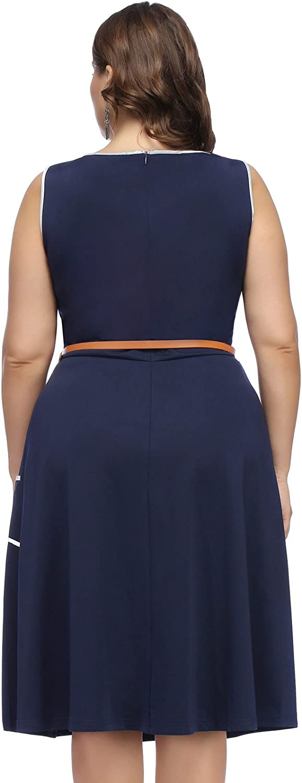 Hanna Nikole Women Plus Size Sleeveless Pockets A-Line Midi Dress with Belt
