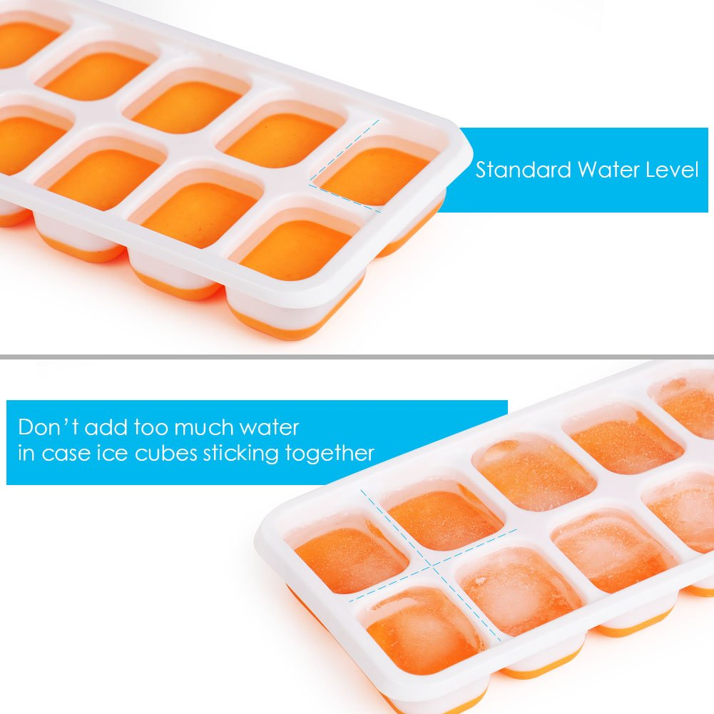 Kootek 4 Pack Silicone Ice Cube Trays with Lid, 14-Ice Trays BPA Free Ice Cube Molds Easy Release Flexible FDA Approved Trays for Chill Drinks Whiskey Cocktail, Dishwasher Safe and Stackable Durable by Kootek (Image #3)