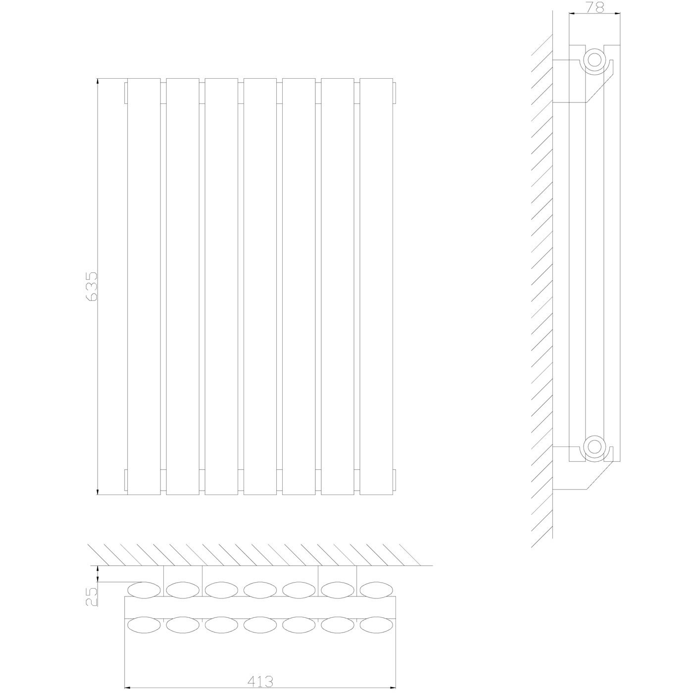 Dise/ño de Columna Calefacci/ón Acabado Antracita 932W 635 x 590mm Hudson Reed Radiador Revive Horizontal con Calefacci/ón de Dise/ño Moderno