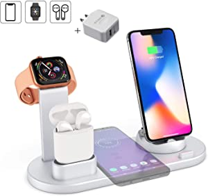 Hi Young Wireless Charger,Charging Station for Multiple Devices,4 in 1 Wireless Charging Dock,Compatible Apple Watch/Airpods/iPhone 8/8 Plus/X/XS/XR/Xs Max/11/11 Pro/Samsung Galaxy S10/S9(Silver)