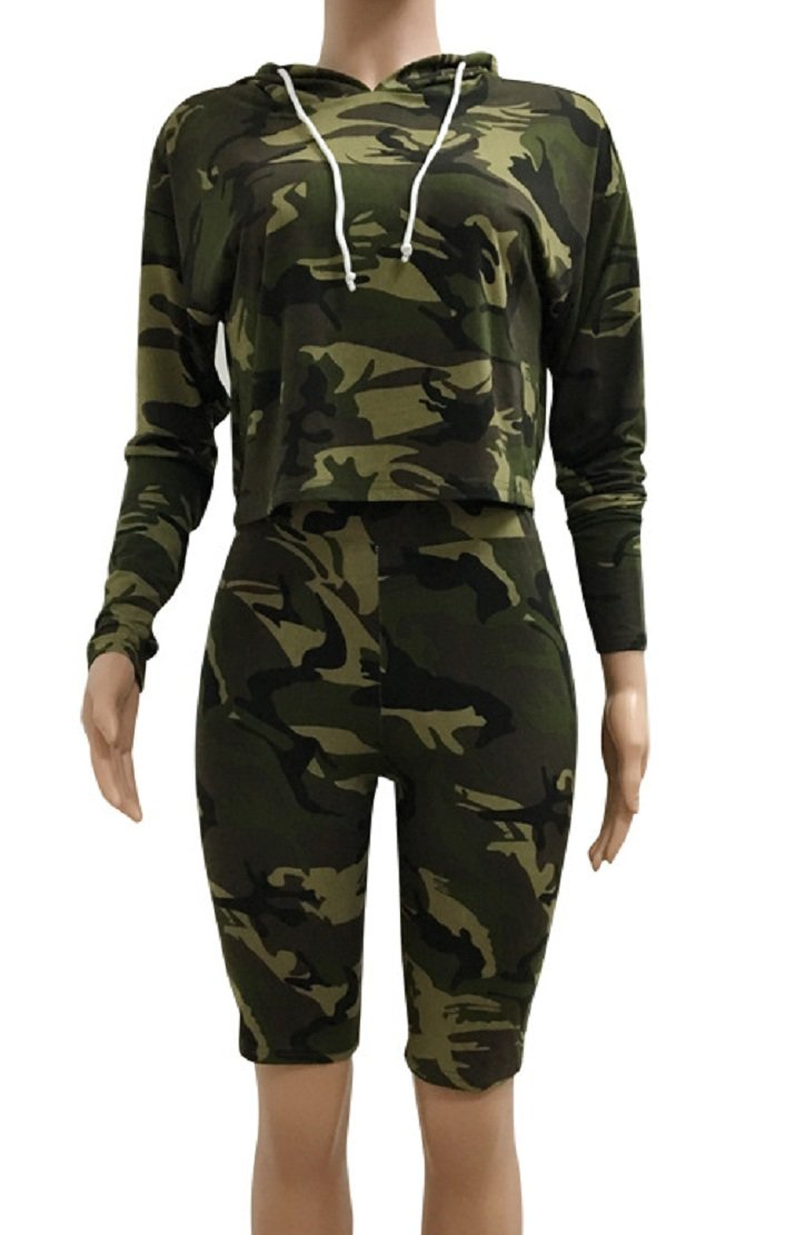 Sorrica Women's Sexy 2 Piece Jumpsuit Sportswear Camo Hoody Pants Set Tracksuit (L, Camo) by Sorrica (Image #4)
