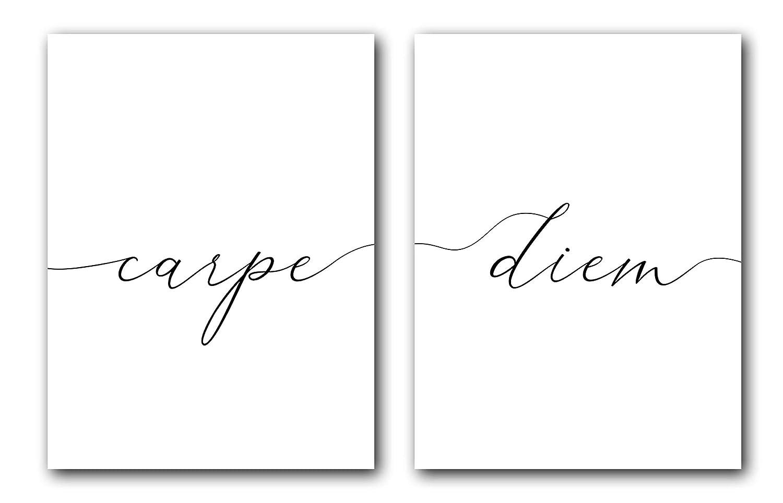 Carpe Diem, Unframed, 18 x 24 Inches, Set of 2, Posters, Minimalist Art Typography Art, Bedroom Wall Art, Romantic Wall Decor
