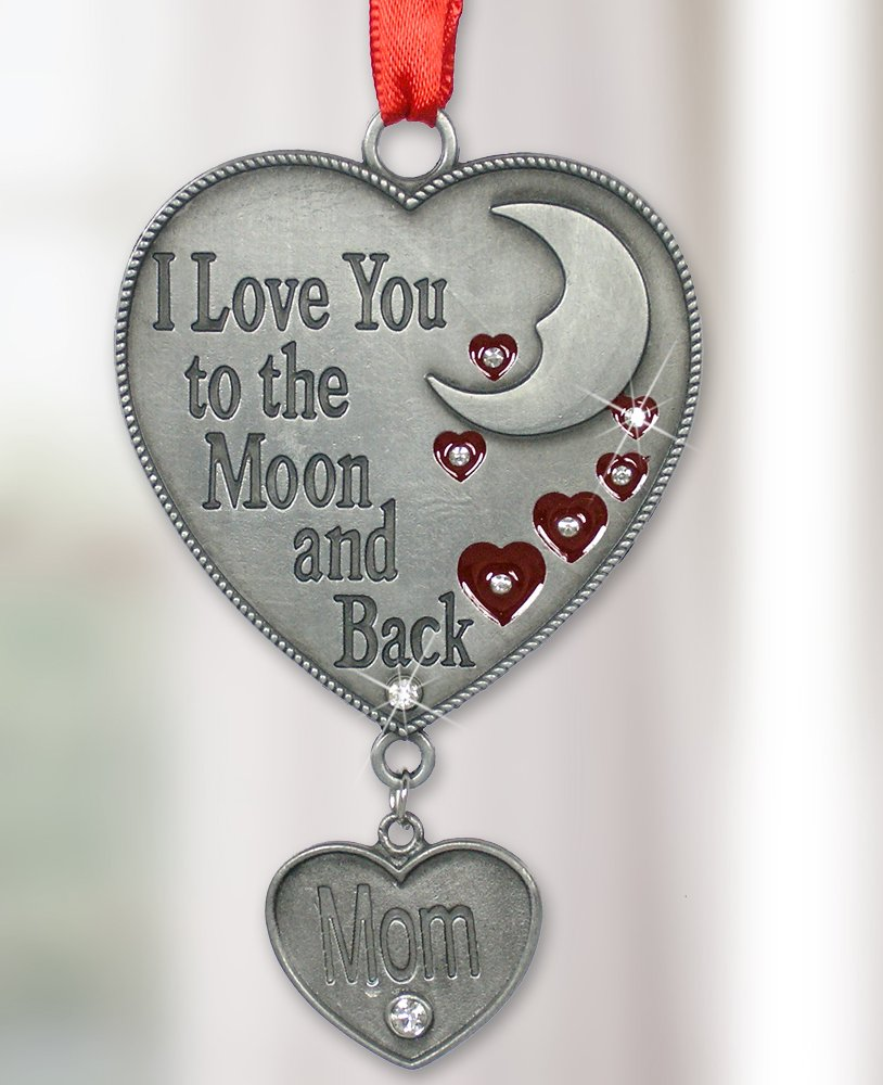 Mom Ornament - I Love You to the Moon and Back Ornament for Mom - Red Hearts and Moon Design with a Hanging Charm Engraved ''Mom''