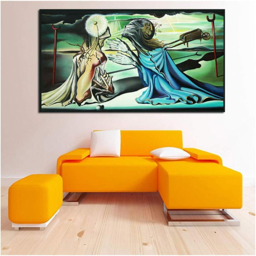 Salvador Dalí dio un Tristan Carteles de lienzo Impresiones Cuadro de pared para oficina Dormitorio Decoración del hogar -60x100cm Sin marco