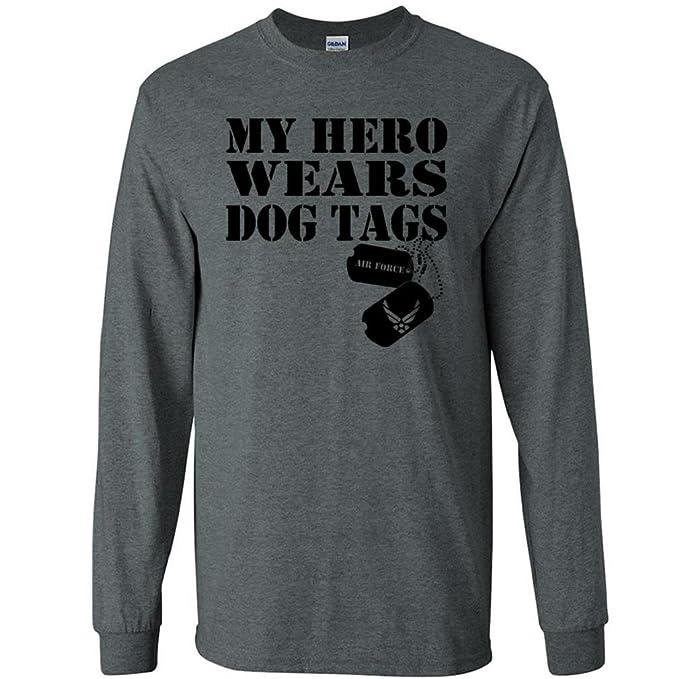 4bfae055fbf5 My Hero Wears Dog Tags - Air Force Logo Long Sleeve T-Shirt at ...