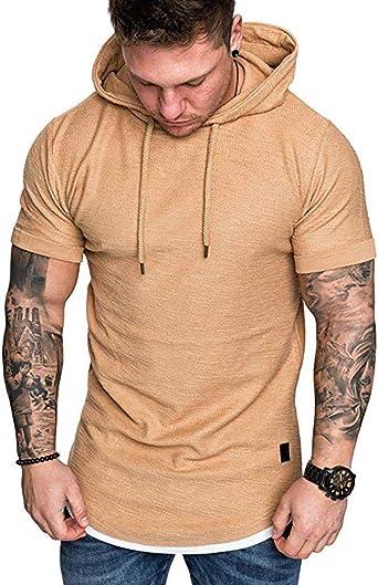 VICGREY ❤ Maglietta Manica Corta Casual Camicia Uomo Elegante Felpa con Cappuccio T-Shirt Estate Solido Pullover Tops Uomo Ragazzo Sportivo Camicetta Uomo Palestra