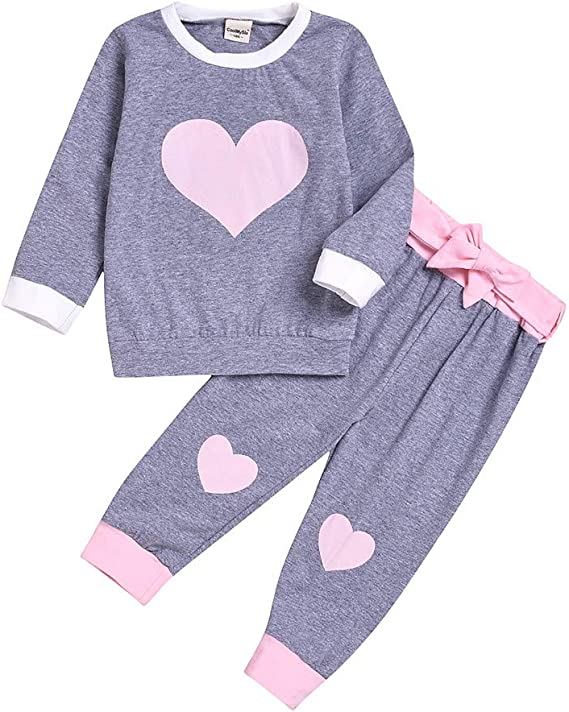 Baby Toddler Girls Autumn Pajamas Clothes Outfits for 1-4 Years Old Child Heart Long Sleeve Sleepwear Pants Sets