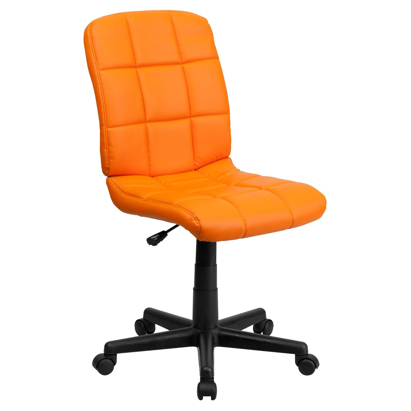 Flash Furniture Mid-Back Quilted Vinyl Swivel Armless Task Office Chair, Orange
