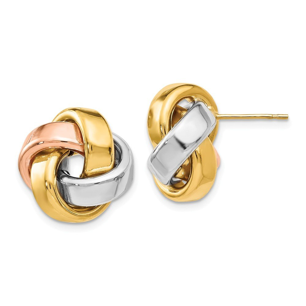 Best Designer Jewelry Leslies 14k Tri-Color Polished Love Knot Post Earrings