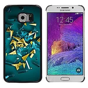 TopCaseStore / la caja del caucho duro de la cubierta de protección de la piel - Abstract 3D Polygon Art - Samsung Galaxy S6 EDGE SM-G925