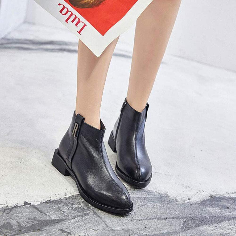 Color : Black, Size : 38 YaXuan Womens Booties Fall Winter Black Ankle Boots for Women Thick Heel Slip on Ladies Shoes Martin Boots