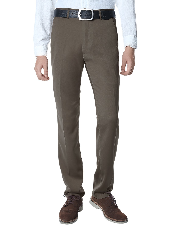Match Men's Tapered-Fit Wrinkle-Resistant Dress Pants(32W x 32L, 8078 Light brown)