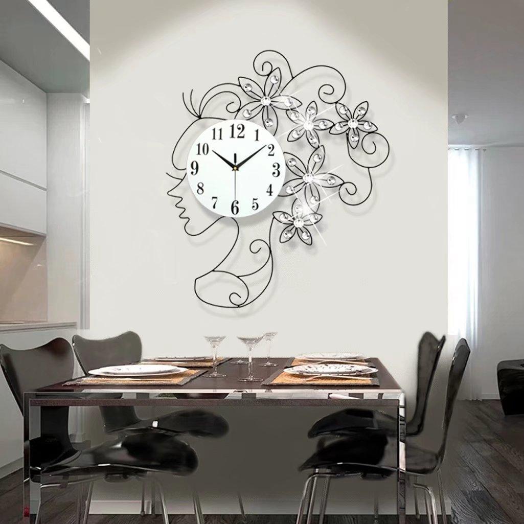 A-KUYA 欧式 モダン ファッション 女の子 花 デザイン 数字時計 静か 壁掛け おしゃれ 石英時計 掛け時計 デジタル インテリア ホーム オフィス 電池式 静音 リビング 二色 ブラック B074C9B662ブラック