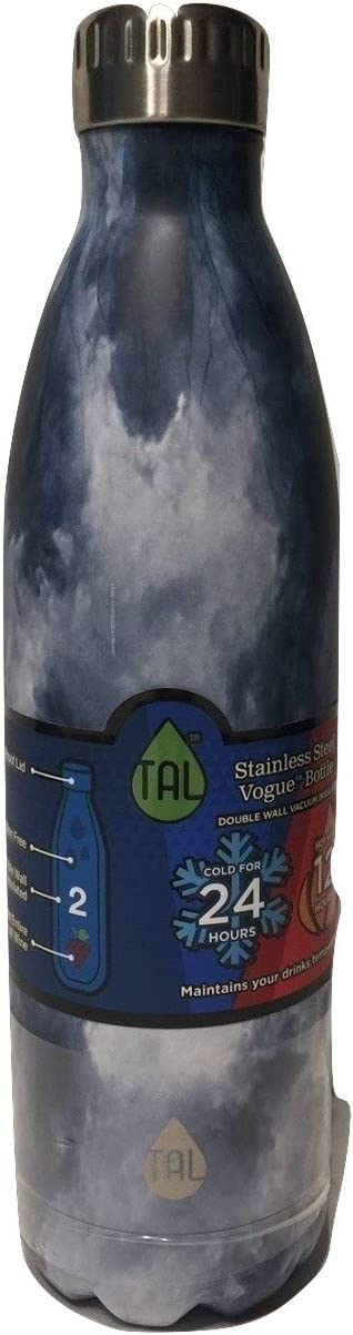 TAL Vogue Double-Wall Vacuum Insulated Stainless Steel Bottle 48+ Hours Cold Performance (Marble, 25 oz)