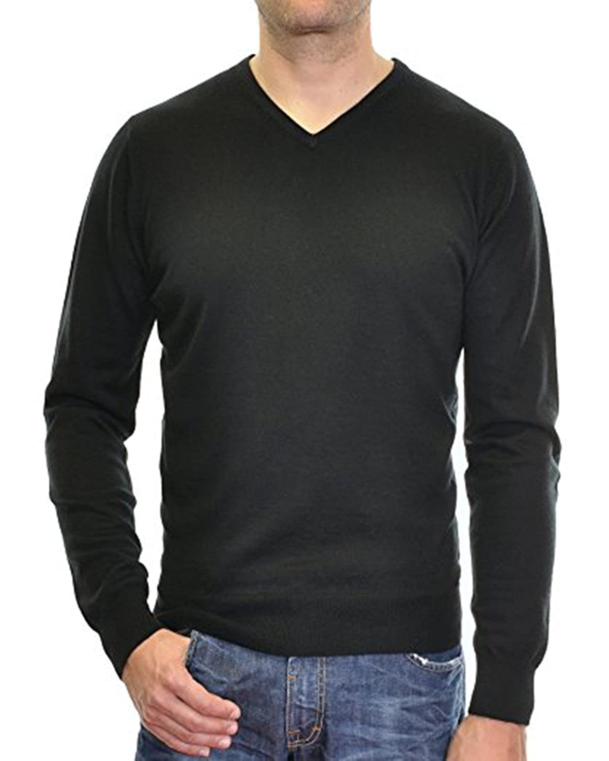 StyleDome Men's Basic Casual Cotton Long Sleeve Tops Slim V Neck Sweatshirts