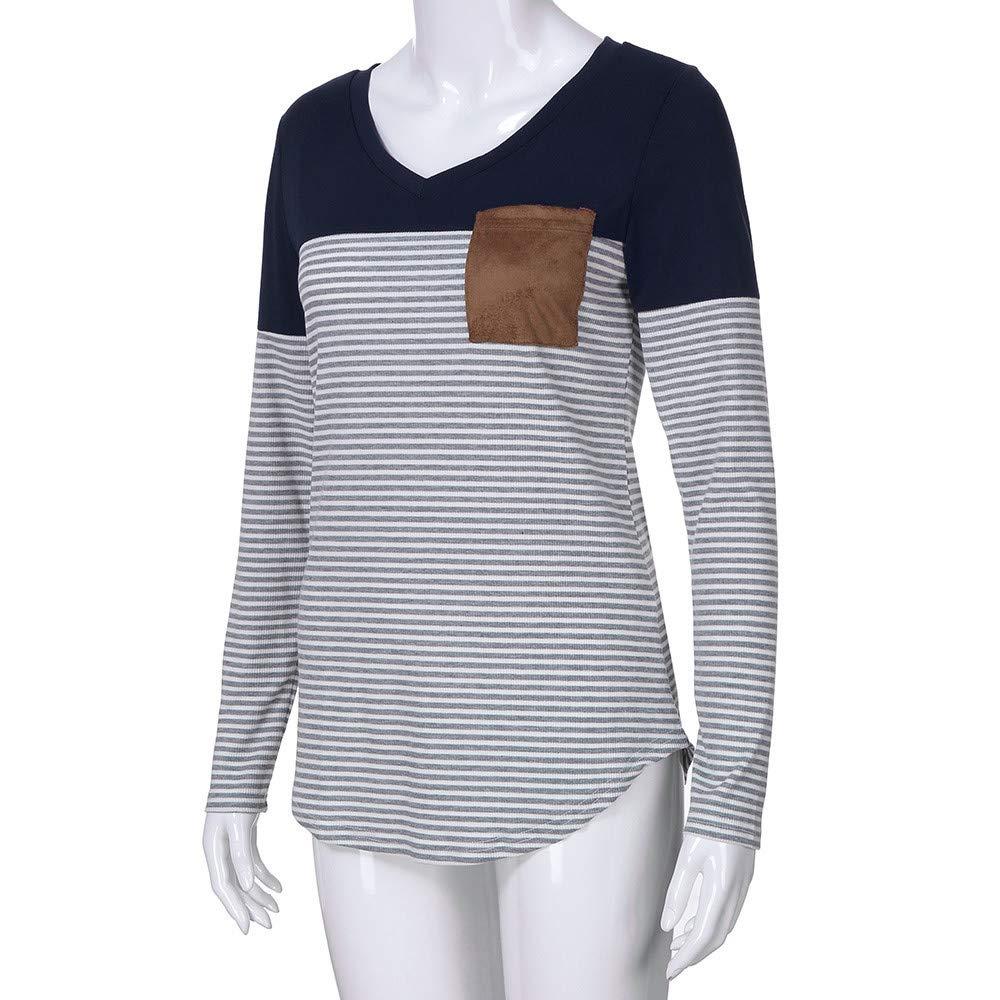 Manga Larga con Cuello en V para Mujer Camiseta de Bolsillo a Rayas para Mujer Tops Blusa ❤ Manadlian: Amazon.es: Ropa y accesorios