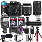 Holiday Saving Bundle for D7500 DSLR Camera + Tamron 70-300mm Di LD Lens + AF-P 18-55mm + Battery Grip + Shotgun Microphone + LED Kit + 2yr Extended Warranty + 32GB Class 10 - International Version