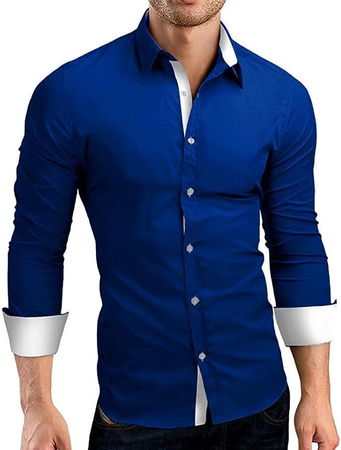 Camisas hombre Auto-cultivo de los hombres costura mangas largas camisa-Tops estilo de otoño,YanHoo® Mens Casual manga larga camisa negocio Slim Fit Camisas de color puro blusa (Azul, 2XL): Amazon.es: Iluminación