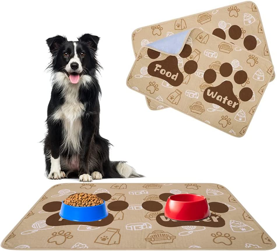SCENEREAL Waterproof and Non-Slip Dog Food Mat - 2 Packs Pet Feeding Mat - Dog Cat Bowl Mat for Food and Water - Absorbent Washable Reusable Pee Pads for Dogs Puppy Training Pads