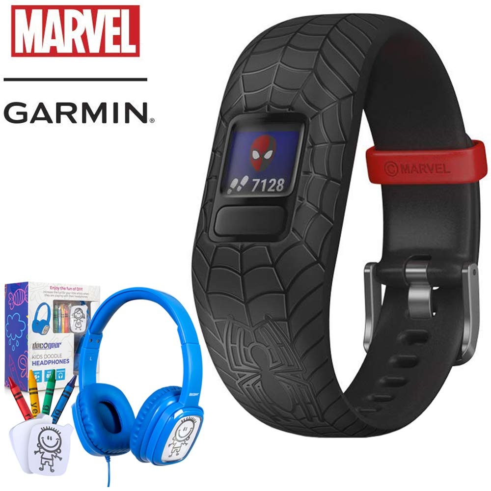 Garmin Vivofit jr. 2 Spiderman Band Adjustable Activity Tracker for Kids, Black (010-01909-37) with Bonus Deco Gear Kids Safe Ears Headphones by Garmin