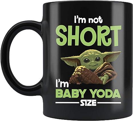 Amazon Com Star Wars Mug Baby Yoda Mug I Am Not Short I Am Baby Yoda Size Quote Funny Novelty Coffee Mugs 11oz Personalized Ceramic Large Tiki Mug Great Gift Idea For