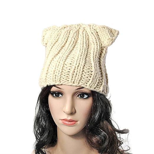 be564d9666c BIBITIME Winter Warm Hat Women s Devil Horn Knitted Hats Cat Ears Knitting  Caps (One Size