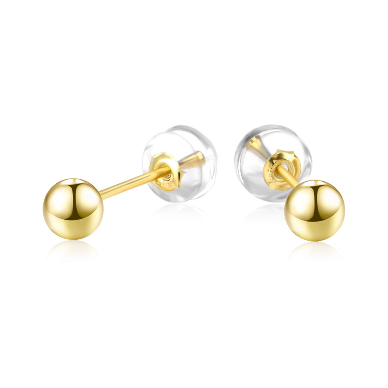 18k Gold Stud Earrings, Gold Ball Earrings, Gold Post Earring for Women Girls (Diameter: 3mm)