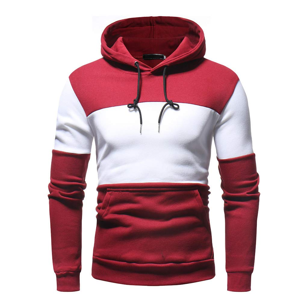 HEFEITONG Mens' Autum Winter Long Sleeve Patchwork Fleece Hooded Sweatshirt Tops 17.48