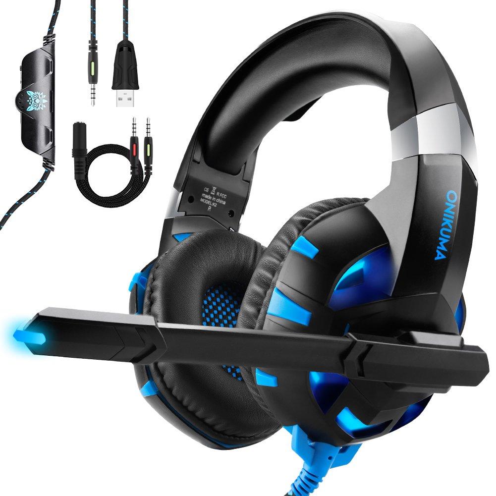 Auriculares Gaming para PS4 Xbox One o PC con Micrófono y Luz LED, Auriculares de Diadema con Cancelación de Ruido y 7.1 Sonido Envolvente Cascos Gaming Headset Para Nintendo Switch PC Y Móvil