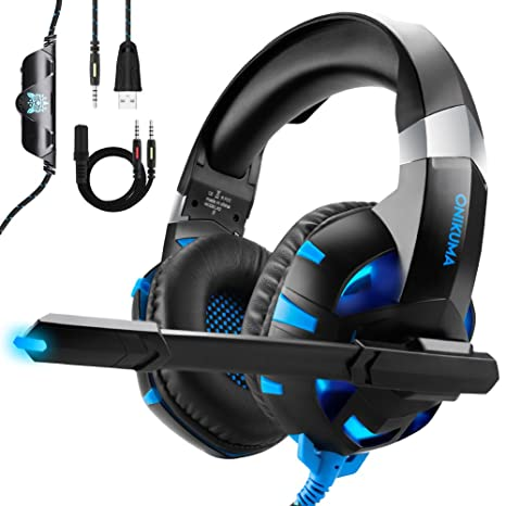 fa75750fb68 ONIKUMA Auriculares Gaming para PS4 Xbox One o PC con Micrófono y Luz LED