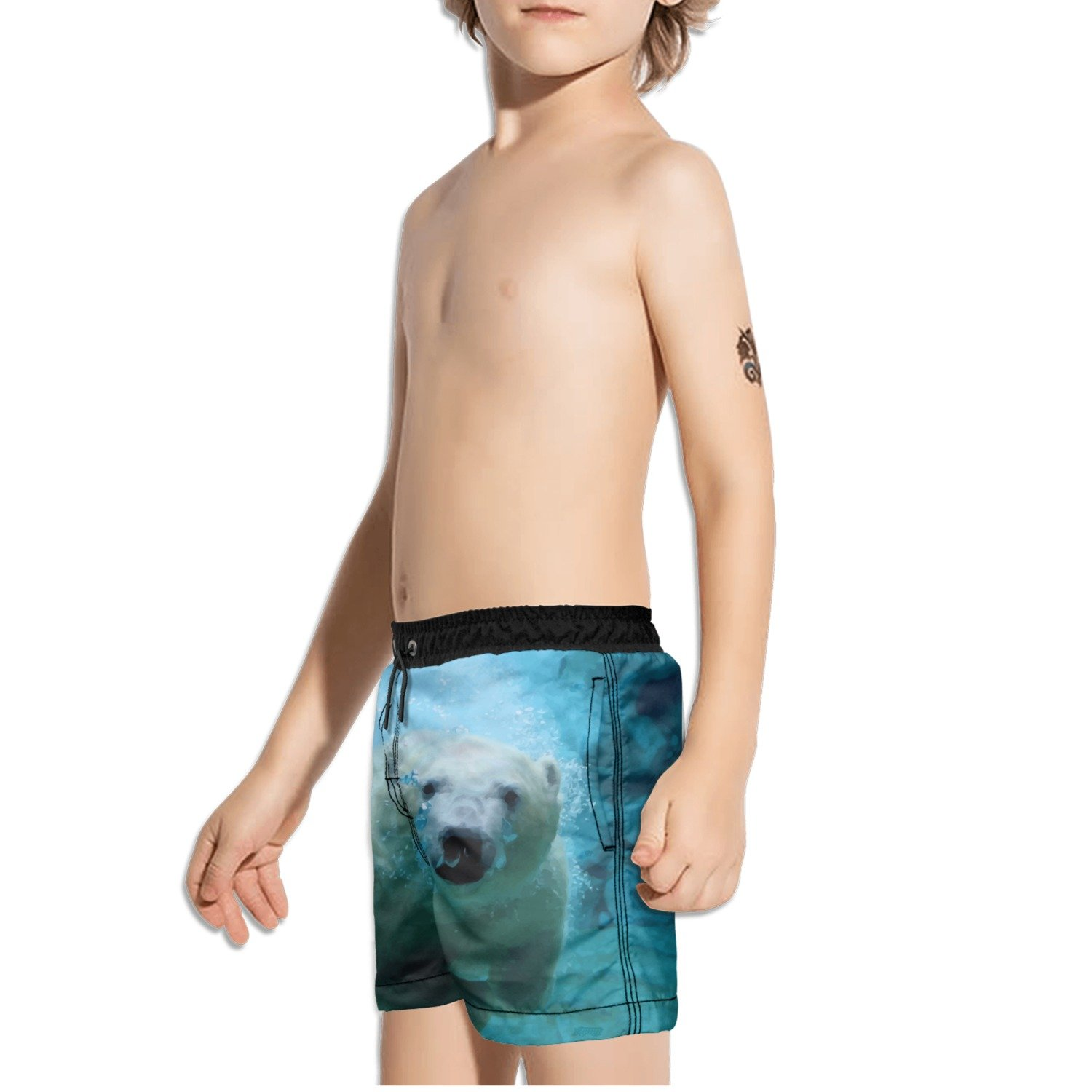 FullBo Polar Bear in Water Little Boys Short Swim Trunks Quick Dry Beach Shorts