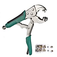 DianMan Heavy-Duty Snap Fastener Pliers (Adjustable Setter, 2 Interchangeable Dies) Snap Installation Set Hand Tools for…