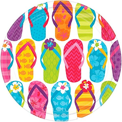 Amscan Sun-Sational Summer Luau Party Colorful Flip Flops Round Plates, 60 Pieces, Made from Paper, Multi-color, 9''  by by Amscan