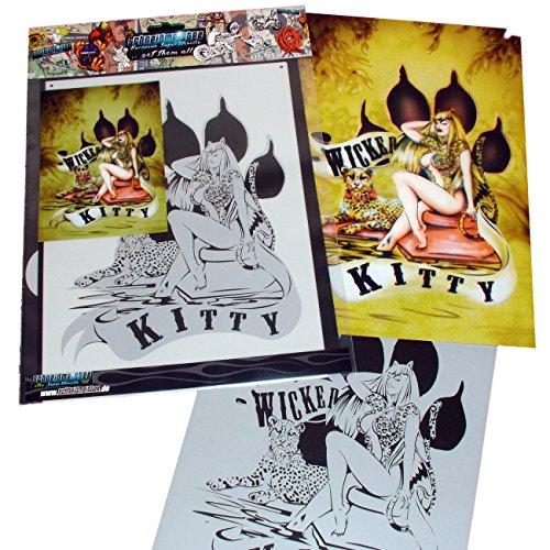 Wicked Kitty - Schneidmeister Wicked Kitty Premium Airbrush Stencil, 10.5