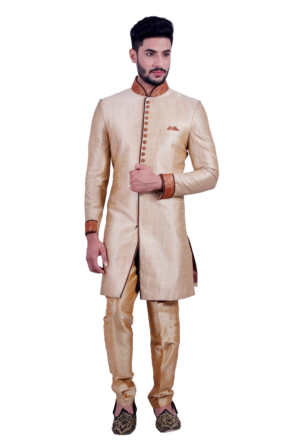 Daffodil Gold Indian Wedding Indo-Western Sherwani for Men