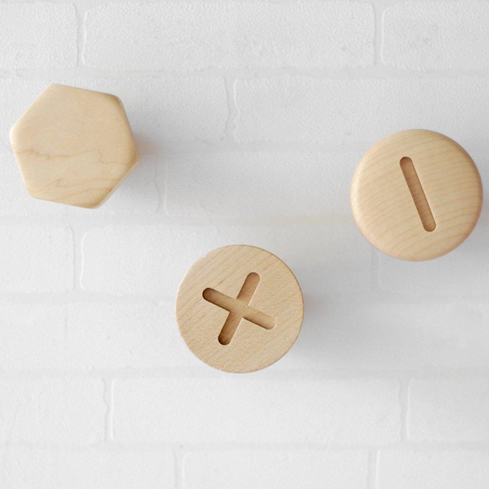 gancho de rosca para bot/ón de madera de haya accesorio para el hogar #2 OUNONA Perchero decorativo de madera maciza para colgar en la pared de madera creativa