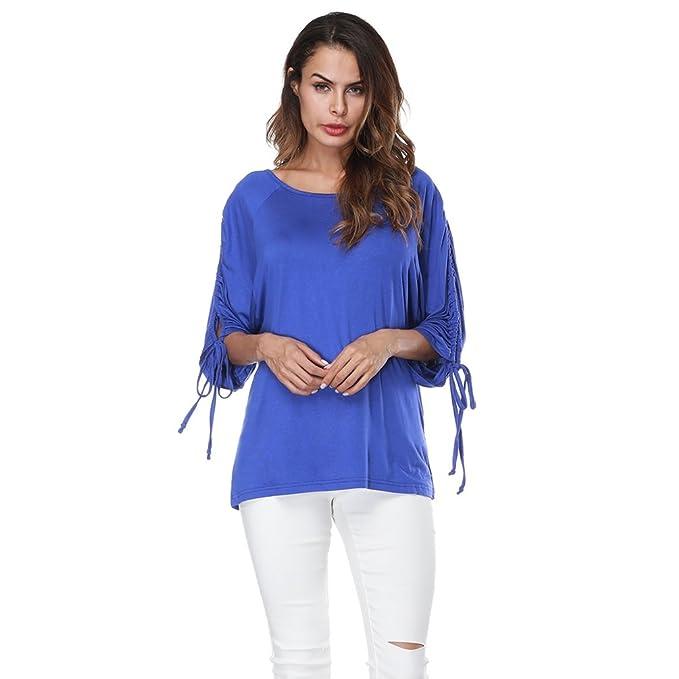 Sentao Mujer Elegante Camisas De Hombro Frío Blusas Slim Fit Tapas Moda Blusa Camiseta (Azul