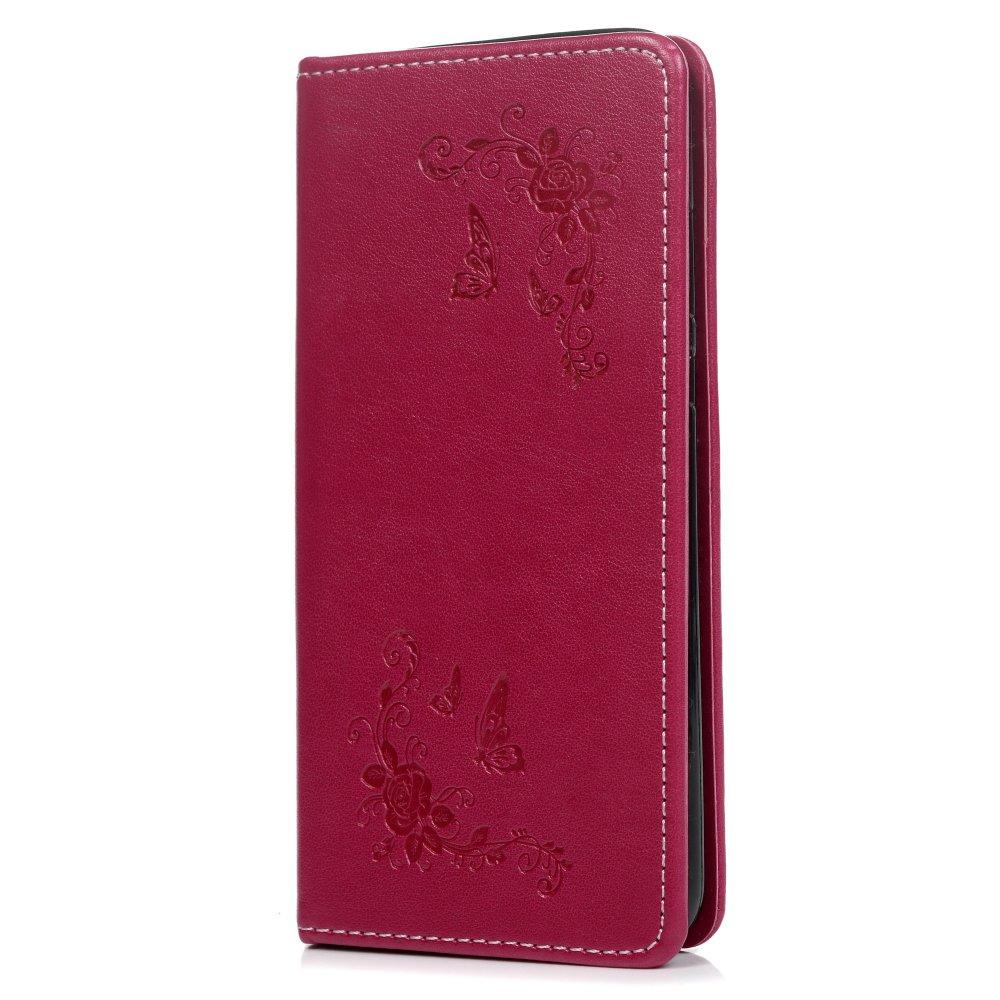 Tophung Huawei P20 Custodia, PU Premium Custodia in Pelle Goffrata Farfalla e Fiore con cavalletto Copertura della Folio Chiusura Magnetica Antiurto Protettiva Flip Cover Case per Huawei P20