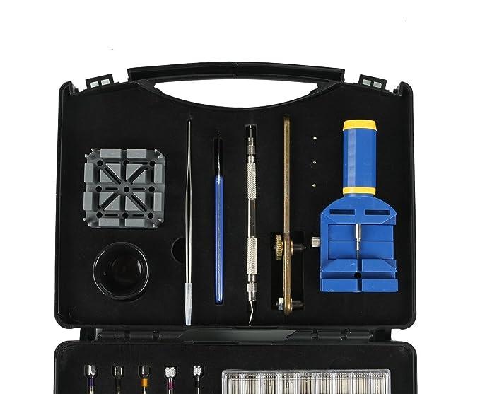 Ohuhu Kit de herramienta de reparación de relojes caso, profesional primavera Bar conjunto de herramientas, juego de reloj banda enlace Pin herramienta con ...