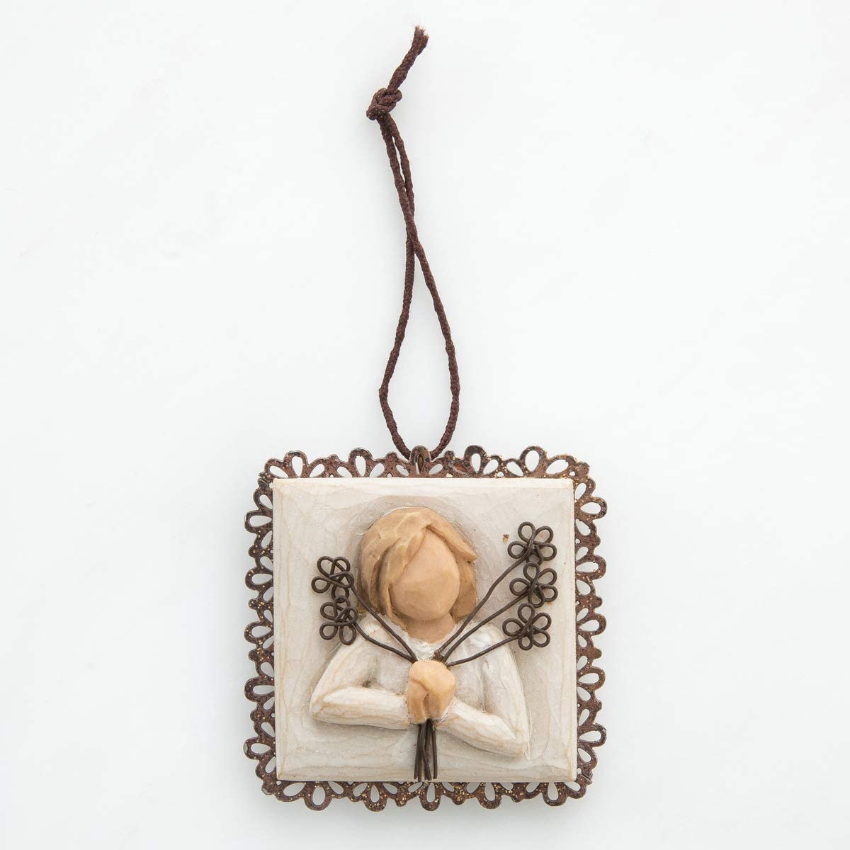 Willow Tree Friendship Metal-Edged Ornament, Sculpted Hand-Painted bas Relief