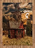 Scenery Area Rug by Ambesonne, Scary Horror Movie Themed Abandoned House in Pale Grass Garden Sunset Photo Print, Flat Woven Accent Rug for Living Room Bedroom Dining Room, 5.2 x 7.5 FT, Multicolor