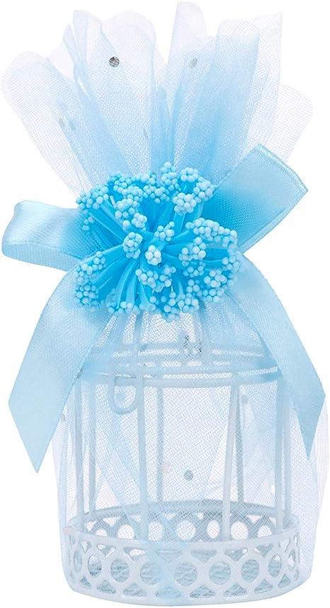 QILICZ - Jaulas de tul para invitados, 12 unidades, caja de regalo de boda, minijaula redonda blanca con decoración de flores, para bodas, bautizos, comuniones, baby shower, cumpleaños: Amazon.es: Hogar