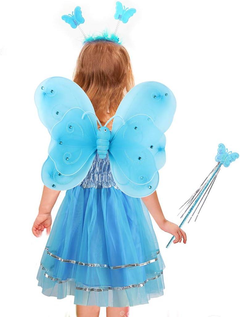 Blau Tacobear 5 St/ück Feenkost/üm Kinder mit Feenfl/ügel Feenkleid Blumenkranz Haare Schmetterling Fee Haarreif Haarband Feen Zauberstab Halloween Party Prinzessin Fee Kost/üm Zubeh/ör f/ür M/ädchen